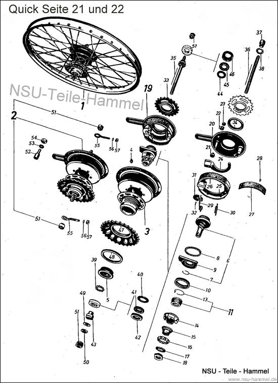 Hinterrad Halbnabe NSU Quick Original NSU Ersatzteileliste Seite 21-22