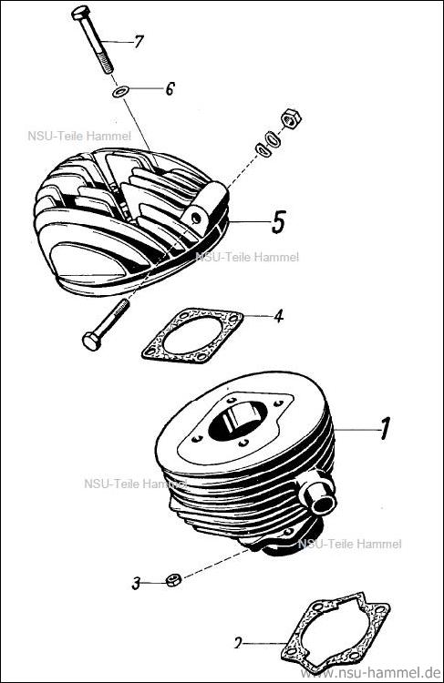 Zylinder NSU 2 Takt Fox Original NSU Ersatzteileliste Seite 7