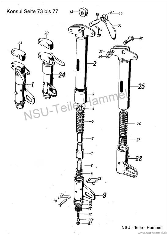 Konsul Original NSU Ersatzteileliste Seite 73-77