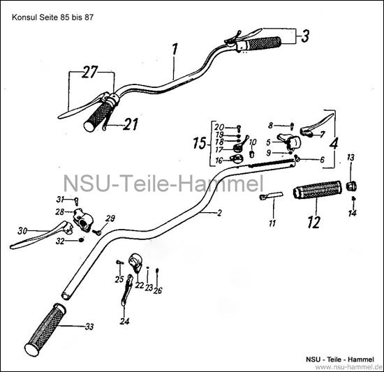 Konsul Original NSU Ersatzteileliste Seite 85-87