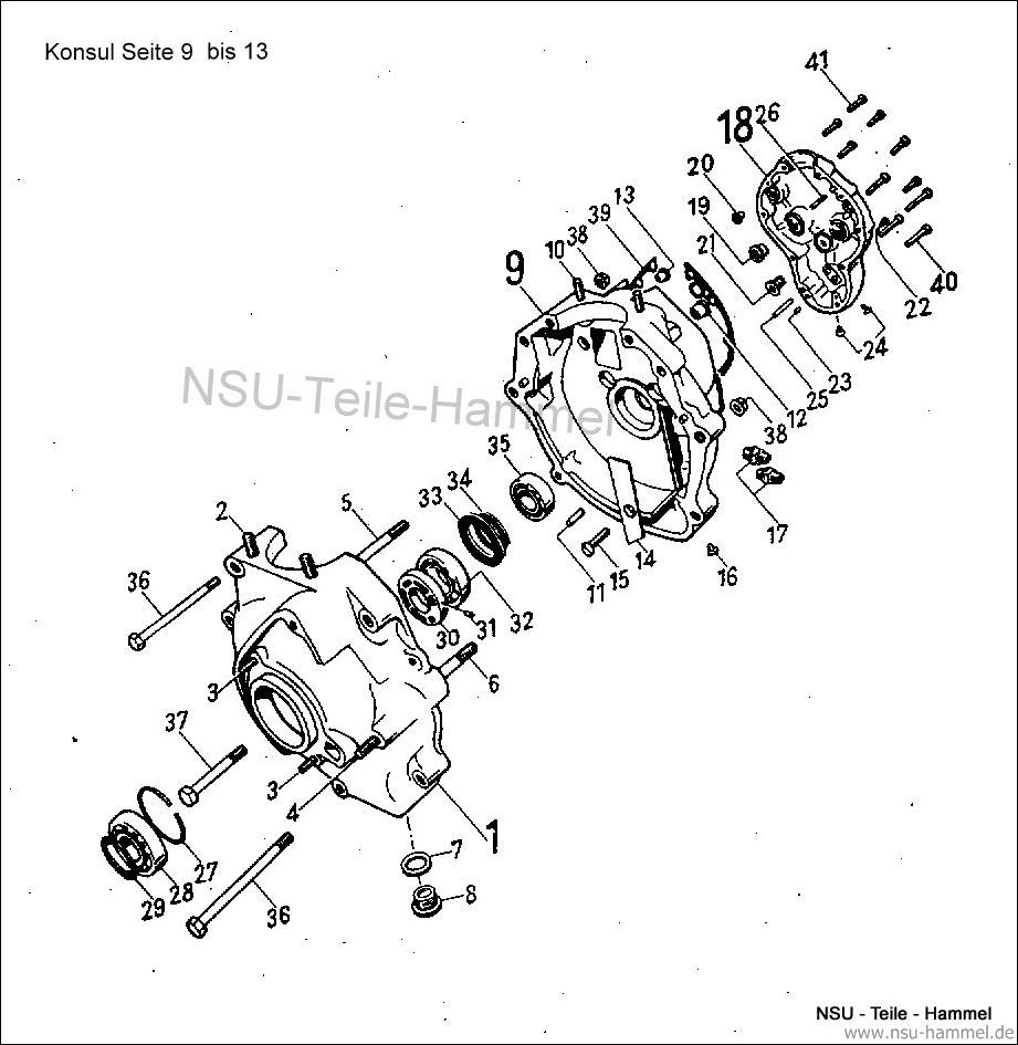 Konsul Original NSU Ersatzteileliste Seite 9-13