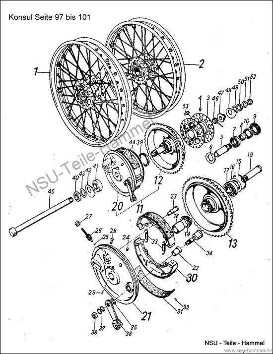 Konsul Original NSU Ersatzteileliste Seite 97-101