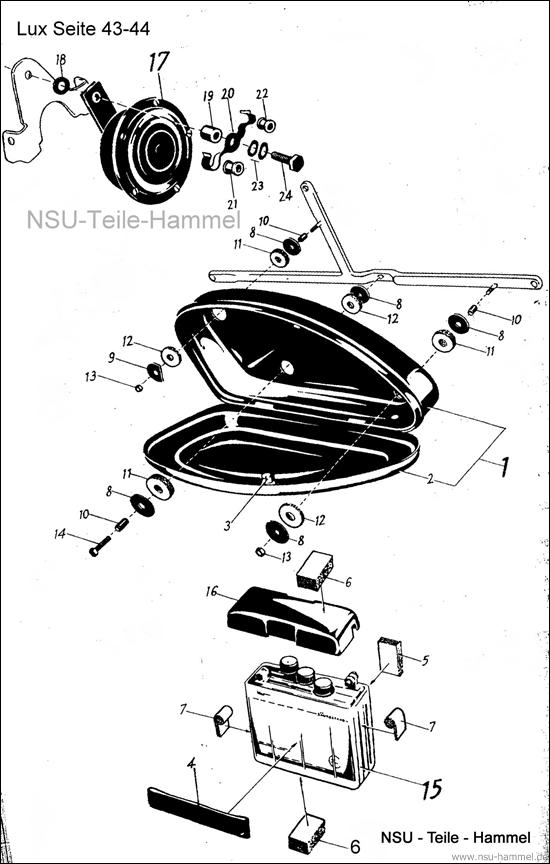 Lux-Superlux Original NSU Ersatzteileliste Seite 43-44