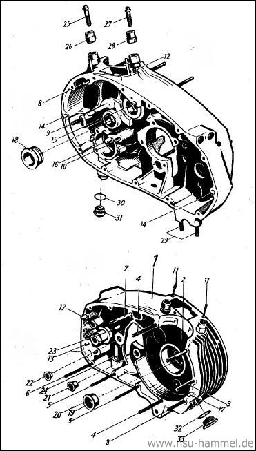 Kurbelgehäuse NSU Max Original NSU Ersatzteileliste Seite 2-3