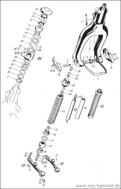 Vordergabel NSU Max Original NSU Ersatzteileliste Seite 25-26