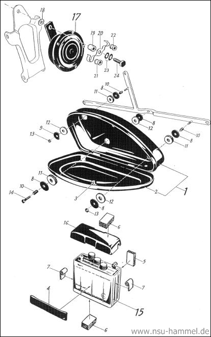 Batterie Horn NSU Max Original NSU Ersatzteileliste Seite 40