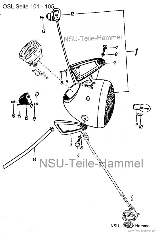 OSL-251 Original NSU Ersatzteileliste Seite 101-105