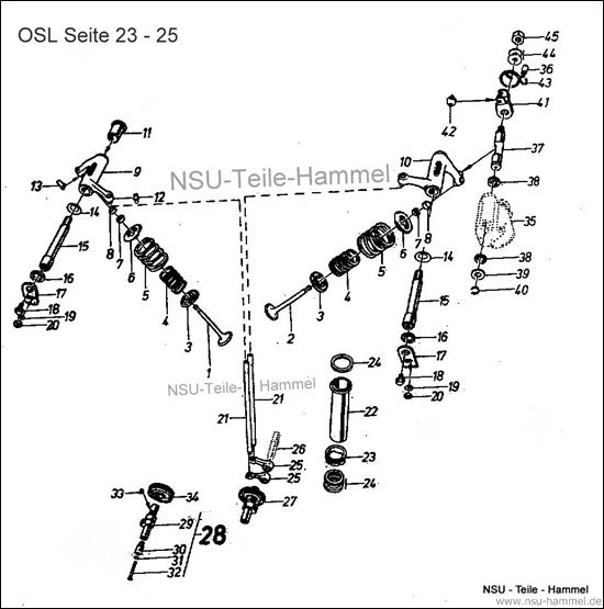 OSL-251 Original NSU Ersatzteileliste Seite 23-25