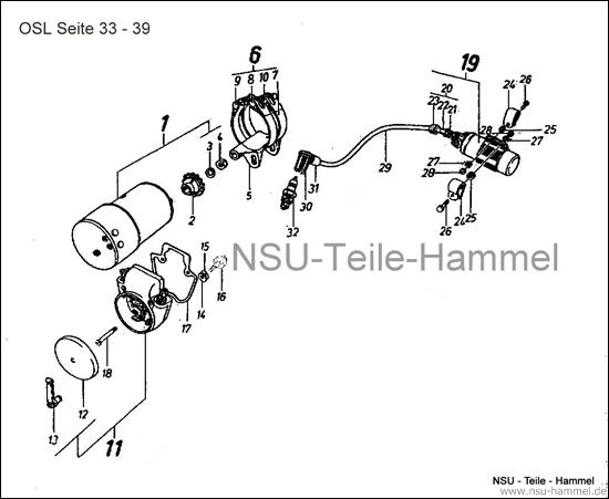 OSL-251 Original NSU Ersatzteileliste Seite 33-39