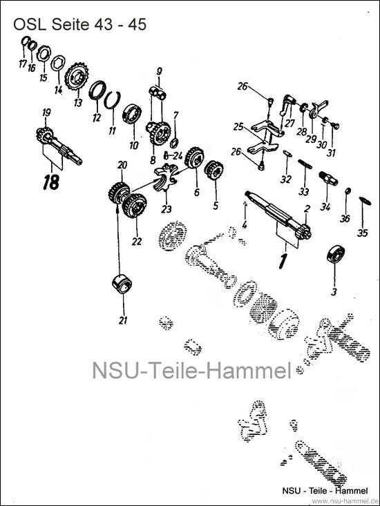 OSL-251 Original NSU Ersatzteileliste Seite 43-45
