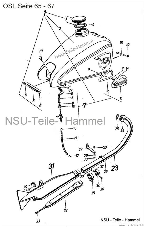OSL-251 Original NSU Ersatzteileliste Seite 65-67