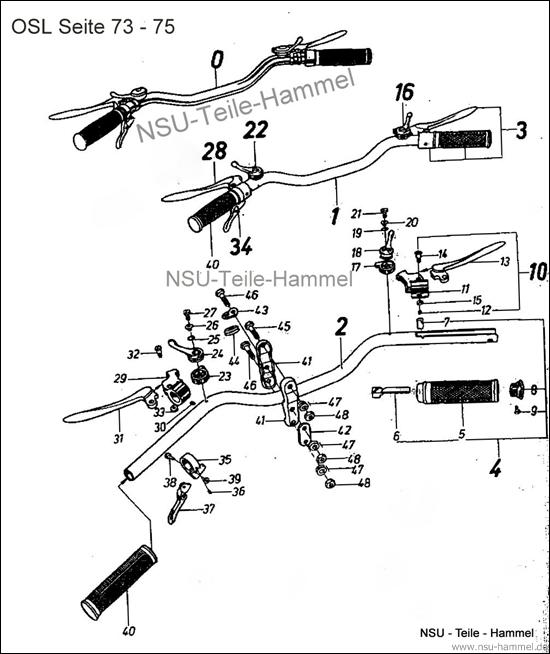 OSL-251 Original NSU Ersatzteileliste Seite 73-75
