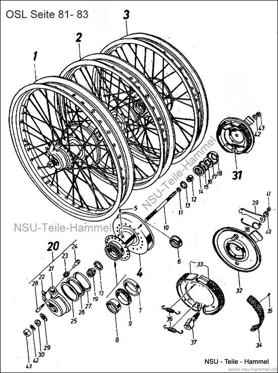 OSL-251 Original NSU Ersatzteileliste Seite 81-83