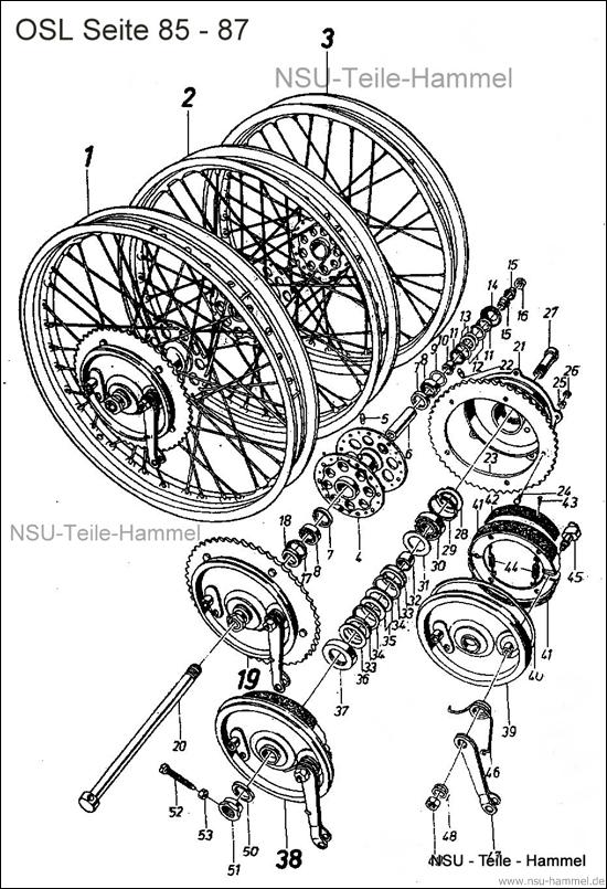 OSL-251 Original NSU Ersatzteileliste Seite 85-87