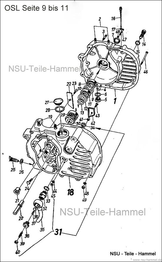 OSL-251 Original NSU Ersatzteileliste Seite 9-11