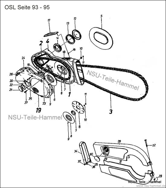 OSL-251 Original NSU Ersatzteileliste Seite 93-95