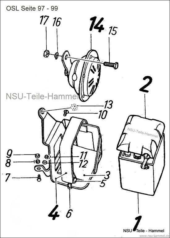 OSL-251 Original NSU Ersatzteileliste Seite 97-99