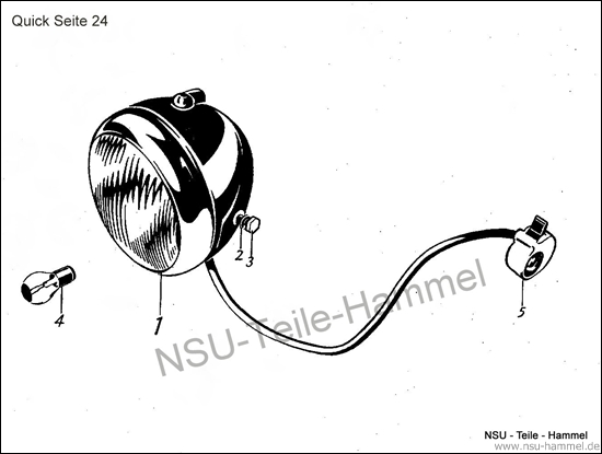 Scheinwerfer NSU Quick Original NSU Ersatzteileliste Seite 24
