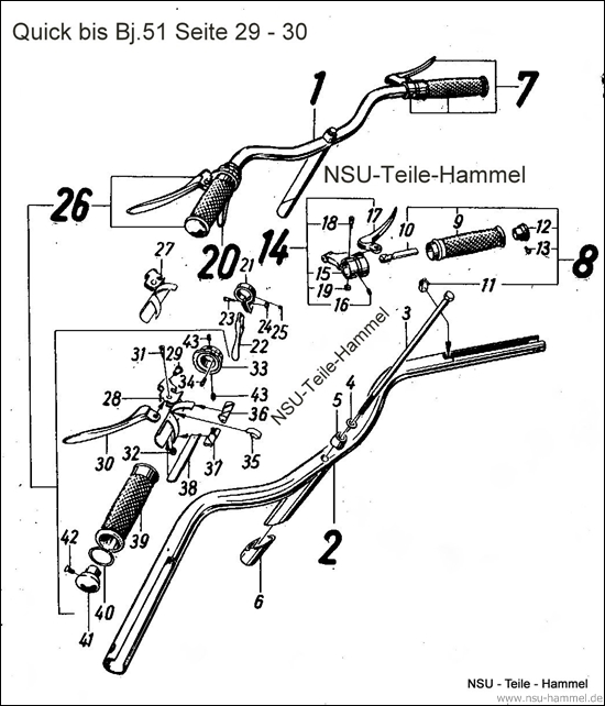 Lenker Baujahr 51 NSU Quick Original NSU Ersatzteileliste Seite 29-30