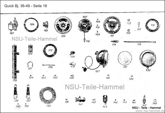 Rücklicht Baujahr 36-49 NSU Quick Original NSU Ersatzteileliste Seite 18