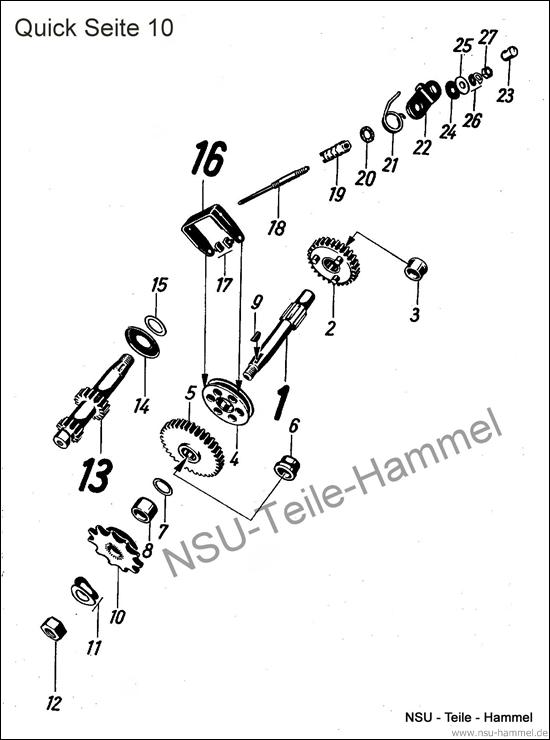 Getriebe NSU Quick Original NSU Ersatzteileliste Seite 10