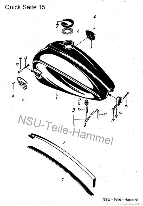 Kraftstoffbehälter NSU Quick Original NSU Ersatzteileliste Seite 15