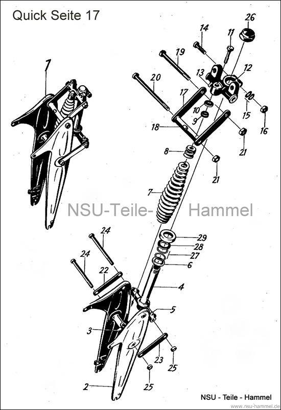Vordergabel NSU Quick Original NSU Ersatzteileliste Seite 17