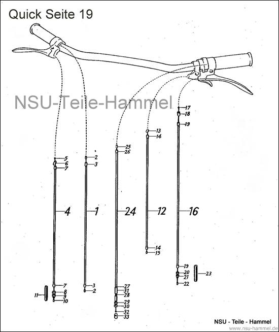 Seilzüge NSU Quick Original NSU Ersatzteileliste Seite 19