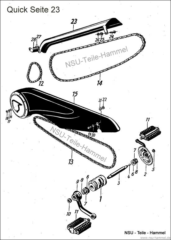 Kettenantrieb NSU Quick Original NSU Ersatzteileliste Seite 23
