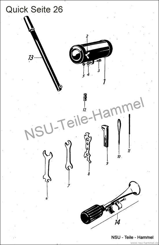Sonderausstattung NSU Quick Original NSU Ersatzteileliste Seite 26