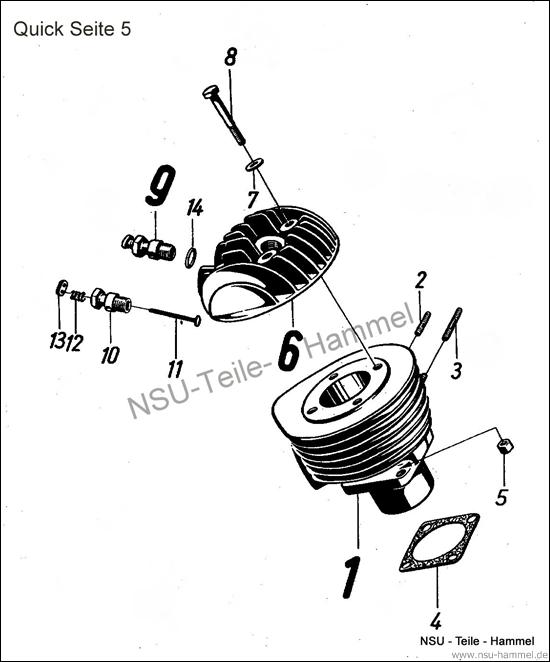 Zylinder NSU Quick Original NSU Ersatzteileliste Seite 5