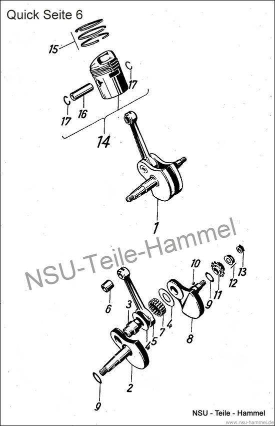 Kurbeltrieb NSU Quick Original NSU Ersatzteileliste Seite 6