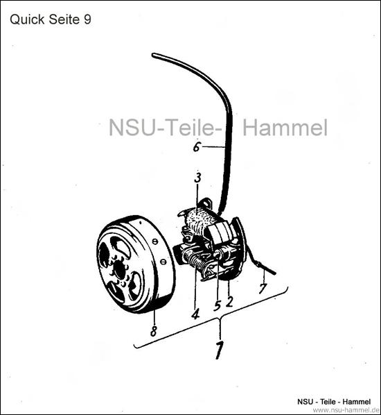 Elektrische Ausrüstung Noris NSU Quick Original NSU Ersatzteileliste Seite 9