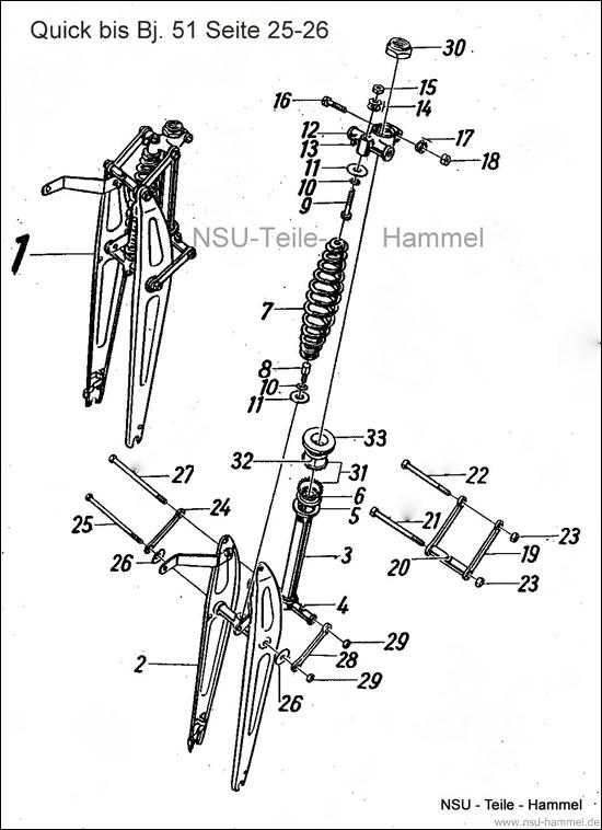 Vordergabel Baujahr 51 Original NSU Ersatzteileliste Seite 25-26