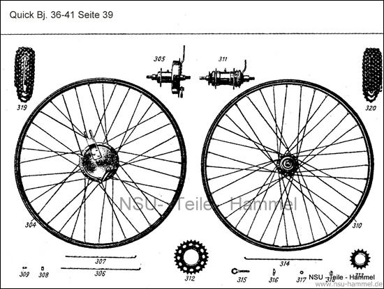 Vorderrad Baujahr 36-41 NSU Quick Original NSU Ersatzteileliste Seite 39