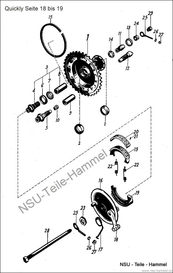 Quickly Original NSU Ersatzteileliste Seite 18-19