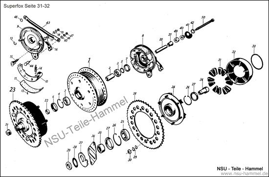 Superfox Original NSU Ersatzteileliste Seite 31-32